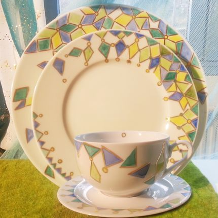 Assiettes de reception - Assiettes et  tasse déjeuner collection By me - CLAUDIE FRANEL DESIGN