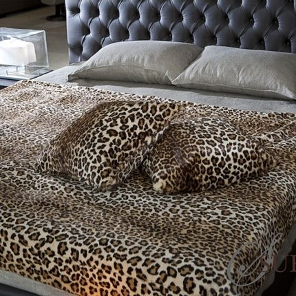 Throw blankets - Leopard blanket and cushion - JASON FUR COLLECTION