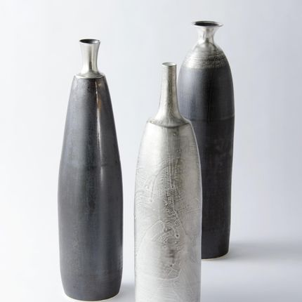 Vases - Flower vase Silver glaze / Manganese glaze - RISO CERAMICS