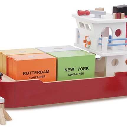 Toys - New Classic Toys - Container Ship with 4 containers - NEW CLASSIC TOYS