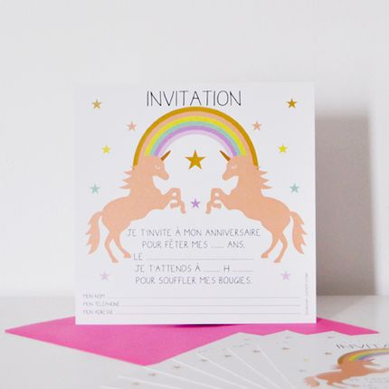 Birthdays -  8 Unicorn Invitations - CHACHA