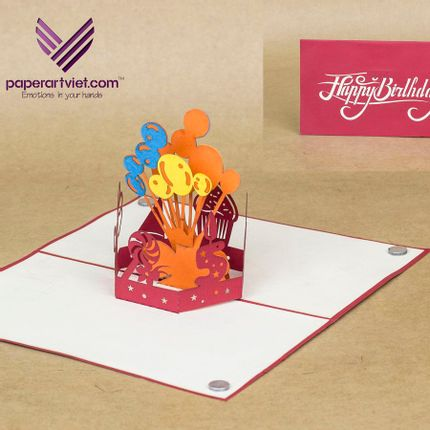 Gift - Birhday day pop-up card  - PAPER ART VIET