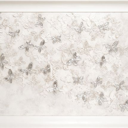 Paintings - SILVER AND WHITE BUTTERFLIES JOURNEY - BARJ BUZZONI