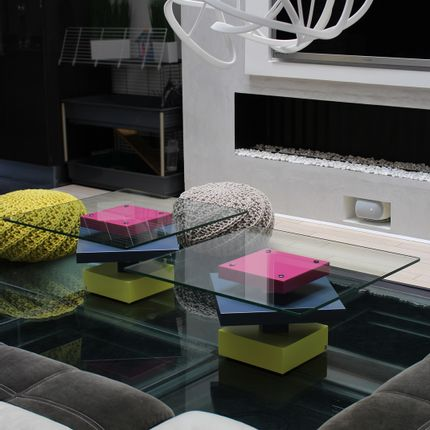 Coffee tables - Low glass tables Pied-G - LES PIEDS SUR LA TABLE