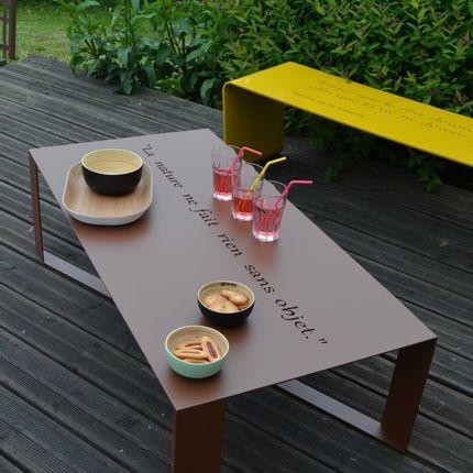 Tables de jardin - Table basse HAPPINESS intérieur ou extérieur - ID-FER MEUBLES EN METAL PLIE