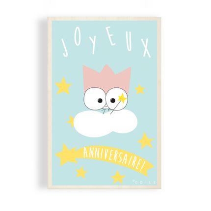 """Anniversaires - Carte postale en bois """"joyeux anniversaire"""" - ODÎLE"""