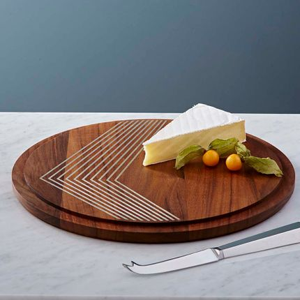 Platter, bowls - silver inlaid cheeseboard - SHONA MARSH LTD