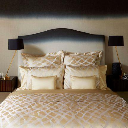 Linge de lit - Parure de lit soie coton Rubans Gold - GINGERLILY LTD