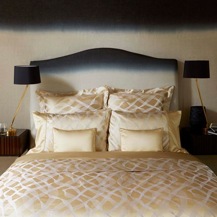 Bed linens - Rubans Gold silk cotton bed linen - GINGERLILY LTD