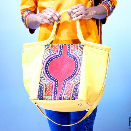 Bags / totes - Cabas Fourre tout cuir et pagne - L.E CRÉATIONS