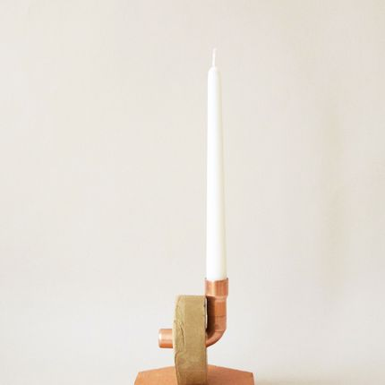 Decorative objects - Asymmetrical Candleholder Mi-cuit  - BARBADINE DESIGN