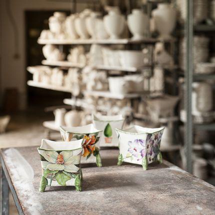 Ceramic - small square cachepot/vase - CERAMICHE SAN MARCO SRL