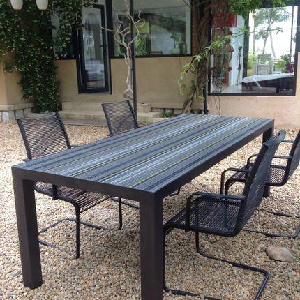 Tables - Tables rayures - BLEU CITRON MOSAIQUES