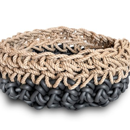 Design objects - Baskets in neoprene yarn and hamp - NEO' DI ROSANNA CONTADINI