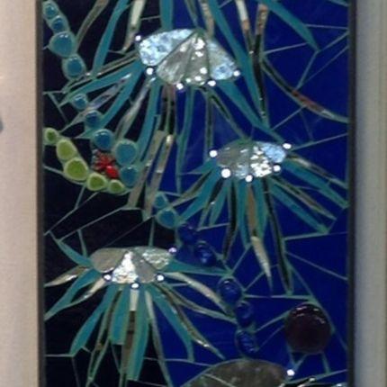 Wall decoration - Panneaux mosaique - BLEU CITRON MOSAIQUES