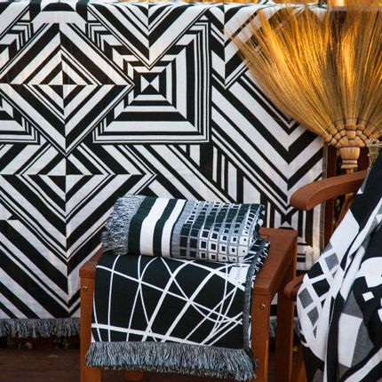 Throw blankets - Mirror Throw / Blanket  - Begonville Black & White Series - BEGONVILLE