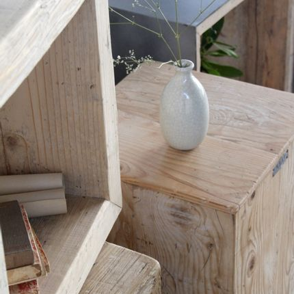 Outdoor space equipment - PATINATED WOODEN SIDE TABLES - ARXE