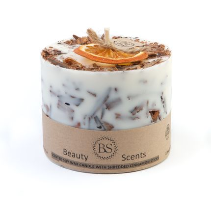 Candles - Cinnamon & Orange Scented Soy Wax Candle with Cinnamon Shredded Sticks D 9 cm H 8.5 cm - BEAUTY SCENTS