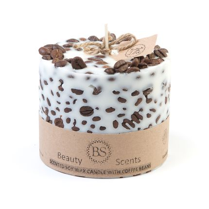 Candles - Vanilla & Coffee Scented Soy Wax Candle with Coffee Beans H 8 cm D 9 cm - BEAUTY SCENTS