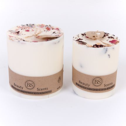Candles - Champagne & Roses  Scented Soy Wax Candle with Rose Petals  H  8 cm D 9 cm - BEAUTY SCENTS