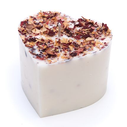 Candles - Heart Shaped Jasmine Scented Soy Wax Candle with Rose Petals D 7.5 cm H 5 cm - BEAUTY SCENTS