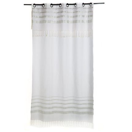 Curtains / window coverings - Flexible curtain ready to hang white and silver lurex stripes IS2 - FOUTA FUTEE