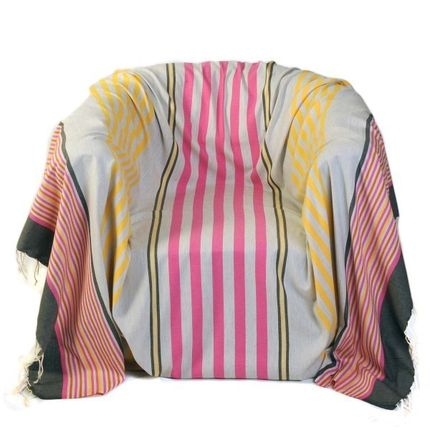 Throw blankets - Square throw ref A1 Background grey, yellow, pink, strong grey - FOUTA FUTEE