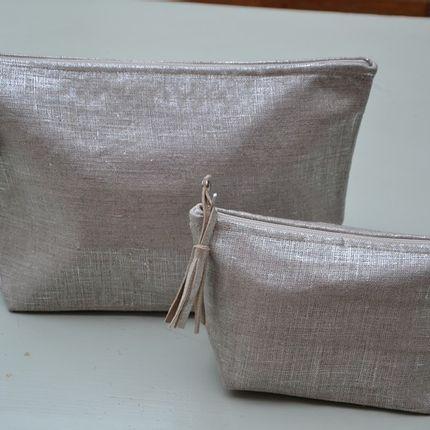 Sacs / cabas - Pochettes lin lamé argent - ISABELLE DANICOURT