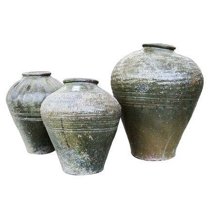 Pots de fleurs - Pot ancien d'œufs centenaires vert olive - THE SILK ROAD COLLECTION