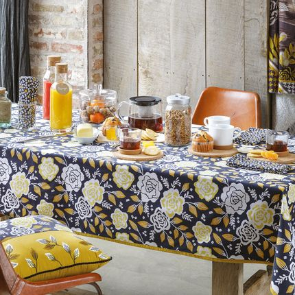 Kitchen fabrics - CLASSIC TABLECLOTH BERNA ANTHRACITE - LA FIANCEE DU MEKONG