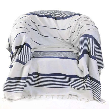 Throw blankets - Square throw ref CB1 Background white with blue stripes - FOUTA FUTEE