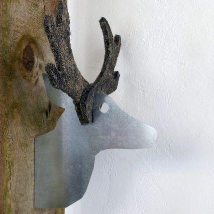 Wall decoration - Reindeer head, galvanised metal + felt - UN ESPRIT EN PLUS