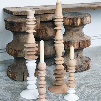 Decorative objects - beech wood candelstick - UN ESPRIT EN PLUS