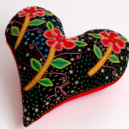 Cushions - EMBROIDERED HEART CUSHIONS - MAHATSARA
