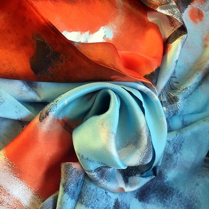 Foulards / écharpes - Foulard 100% Soie/JE Artist Abstract Colour Silk Scarf  - JOURNEY TO THE EAST ART GALLERY