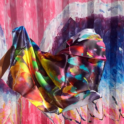 Foulards / écharpes - Foulard 100% Soie/JE Artist Rainbow Mountains Silk Scarf - JOURNEY TO THE EAST ART GALLERY
