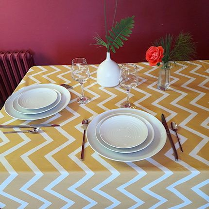 Kitchen fabrics - Wipeable coated cotton Chevron Curry Yellow - FLEUR DE SOLEIL
