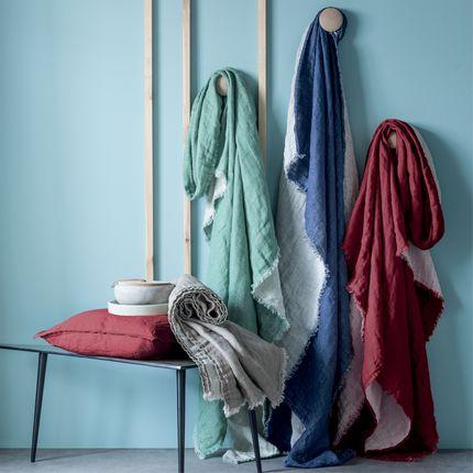 Throw blankets - Jete de lin - BLANC CERISE