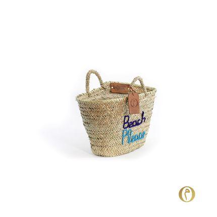 "Shopping basket - Panier Doum Small ""Beach Please"" Marine et turquoise - ORIGINAL MARRAKECH"
