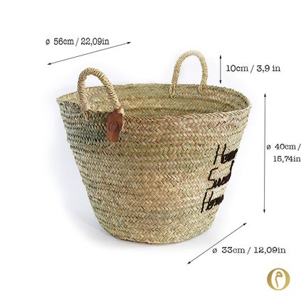 Shopping basket - Doum Basket L (Large) Home, Sweet, Home. Brown embroidery. - ORIGINAL MARRAKECH