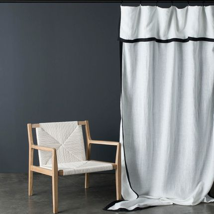 Curtains / window coverings - White washed linen curtain Nice black border 140X270 CM - MAISON D'ÉTÉ