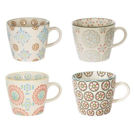 Mugs - COFFRET 4 TASSES GM H8CM ASSORTI BOHEME  - TABLE PASSION - BASTIDE