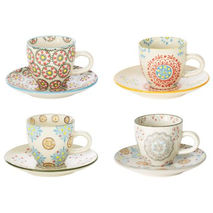 Tasses et mugs - COFFRET 4 P/TASSES CAFÉ BOHEME - TABLE PASSION - BASTIDE