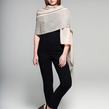 Scarves - Cashmere & silk printed scarf |  Najda Champagne Pashmina   - FLORENZ