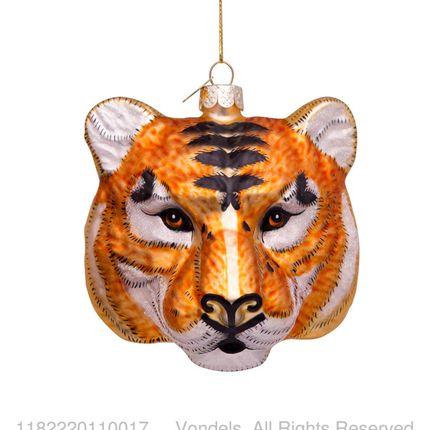 Décorations de Noël - Ornament glass tiger head gold/black 11 cm  - VONDELS AMSTERDAM