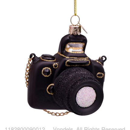 Christmas decoration - ORNAMENT GLASS BLACK CAMERA 9CM - VONDELS AMSTERDAM