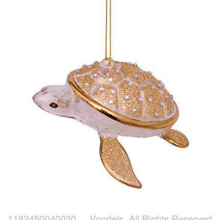 Christmas decoration - ORNAMENT GLASS GOLD/DIAMONDS TURTLE 4CM - VONDELS AMSTERDAM