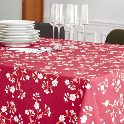 Kitchen fabrics - Wipeable tablecloth Burgundy Cherry tree - FLEUR DE SOLEIL