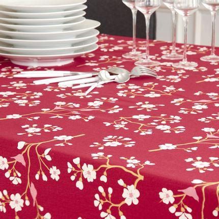 Linge de table - nappe enduite collection Cerisier Bordeaux - FLEUR DE SOLEIL
