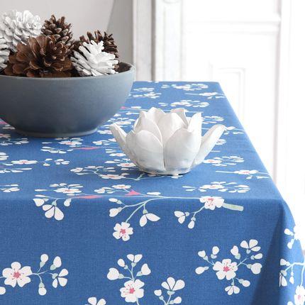 Linge de table - nappe enduite collection Cerisier Pétrole - FLEUR DE SOLEIL